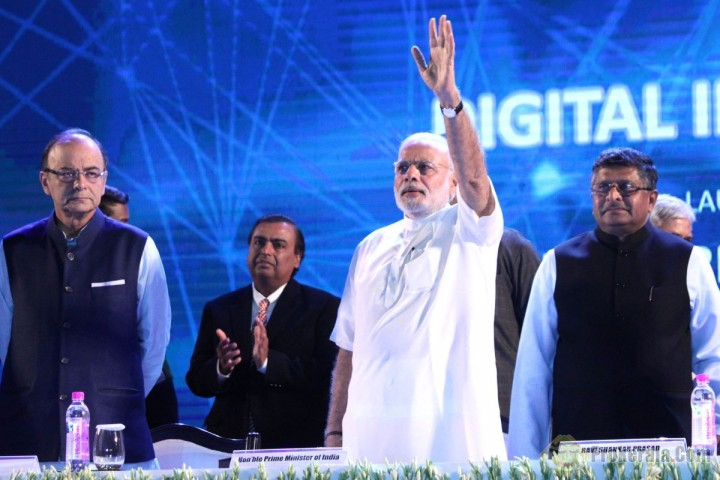 Prime Minister Narendra Modi at the launch ceremony of Digital India Week