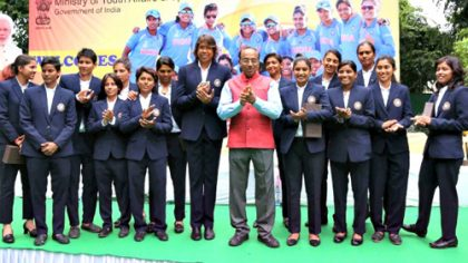 Sports Minister Vijay Goel felicitates Indian women's cricket team