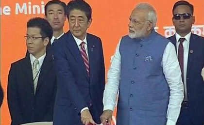 PM Modi, Japanese PM Shinzo Abe jointly lay foundation stone for bullet train