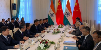PM Modi arrives with the leaders of member states of the Shanghai Cooperation Organisation at the SCO summit in Bishkek.